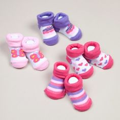 Four Pack Infant Girl Booties
