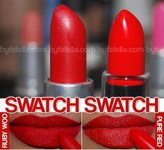 MAC Ruby Woo matte lippie dupe NYX Pure Red matte lippie