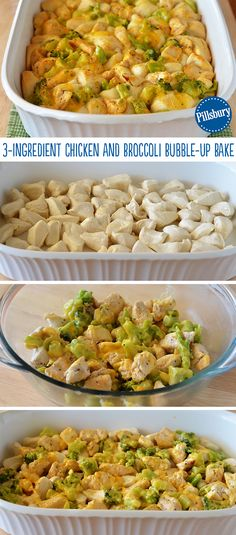 Yes, you can make a delicious cheesy bubble-up bake with only three ingredients. This Chicken and Broccoli one is perfect for a weeknight family dinner. Sprinkle shredded Cheddar cheese over the top before baking for a more cheesy goodness!
