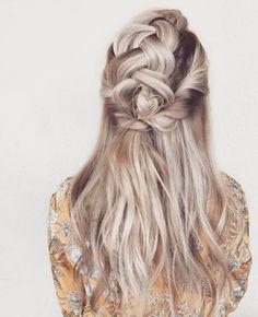 Half-up braid with heart hair pin by Taylor Lamb