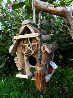 ✯ Witch Bird House & Feeder Handmade Wiccan Bird Box :: Etsy Shop PositivelyPagan ✯ - All For Garden Witchy Garden, Gothic Garden, Garden Crafts, Garden Art, Dream Garden, Bird House Feeder, Bird Feeders, Wiccan Crafts, Bird Boxes