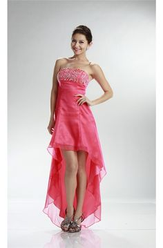 cccf75891d4 High Low Strapless Empire Waist Watermelon Chiffon Party Prom Dress