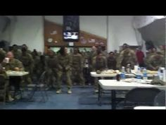 Soldiers from FOB Shank did a flash mob dance in a dinning facility during meal hours.. Hillarious... it'll do your heart good.