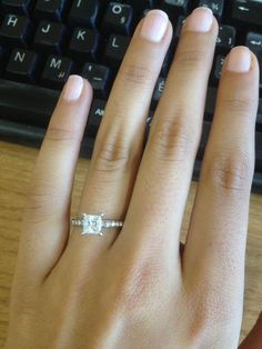 """Found on Weddingbee.com Share your inspiration today! 2.5mm band, 1.02 centre diamond, 8mm high, excellent princess Cut, E Colour, SI1 Clarity (""""eyeclean""""), .25 carat Platinum Pave band, 7K Read more: http://boards.weddingbee.com/topic/show-me-your-ring-the-specs-and-the-price-please-/page/4#ixzz2lbEivpkB #princesscutring"""