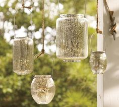 The Paros Mercury Glass Lanterns (on sale for $4 and up) will add silvery light to your next outdoor party.