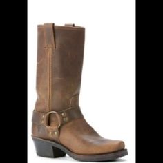 Frye harness boot Brown, super classic style. Some wear and could use a polish. I have them in black, which I wear ALL the time. Really high quality and timeless Frye Shoes Combat & Moto Boots