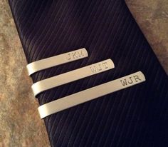 Hand Stamped Aluminum Personalized Tie Bar $12