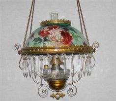 Victorian Hanging Parlor Oil Lamp with Colorful Floral Shade No RSRV | eBay