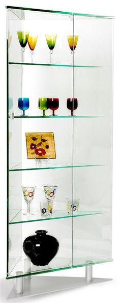 Glass Contemporary Corner Curio Cabinet with Silver Tone Base
