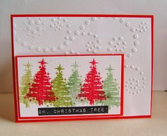 CAS style Christmas card using stamps in the OH, CHRISTMAS TREE! stamp set (stamplorations.com)