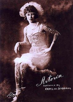 """Anna Mae Gibbons started working under the name of """"Artoria, tattooed girl"""" in 1919 with various circus acts, including Wisconsin's own Barnum and Bailey's """"Greatest Show on Earth"""" from 1920 until 1924. She worked for fifty years as a badass tattooed lady in the circus until the 1980's."""