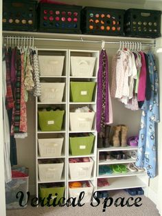 An organized teen girl closet- great idea with the shelves and baskets (wish my closet looked like that) And out a little latter to get to the top!!