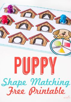 This dog house shape game for preschoolers is perfect for introducing children to circles, squares and triangles in a simple, easy-prep format. Learning shapes becomes fun with this free puppy shape game! Try this game with your preschooler! #lifeovercs #shapes #learningshapes #learninggame #preschooler #preschool