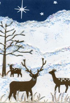 Deer family in snow