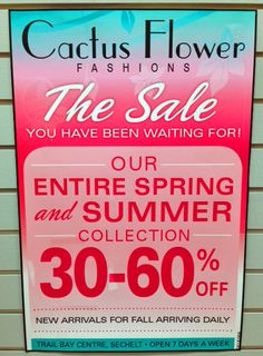 SALE! 30 to 60% off Cactus Flower Fashions entire spring and summer collection! — at Trail Bay Centre