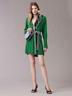Long Sleeve Shirt Dress in Green Envy