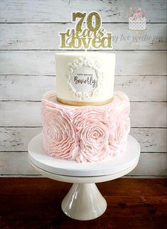 80th Birthday Cake For Grandma, 70th Birthday Party Ideas For Mom, Birthday Cake For Mum, 50th Birthday Cake Toppers, Elegant Birthday Cakes, 70th Birthday Parties, Surprise Birthday, Grad Parties, Beautiful Cake Designs