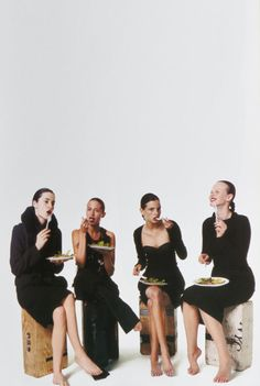 hussein chalayan, comme des garçons, rochas and ralph lauren f/w 2004,  sarah ziff, jeisa chiminazzo, amanda moore and erika wall in pixies by terry richardson for V magazine fall 2004