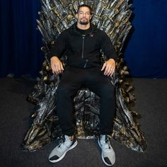 "While in Belfast for a WWE Live Event, Seth Rollins, Roman Reigns and Aleister Black visit the popular ""Game of Thrones"" Touring Exhibition. Which Superstar can you see assume the Iron Throne? Wwe Roman Reigns, Roman Reigns Family, Wwe Superstar Roman Reigns, Seth Rollins, Belfast, Roman Empire Wwe, Game Of Thrones, Wwe Live Events, Roman Regins"