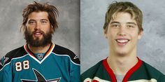 26 Hockey Players With And Without Their Playoff Beards