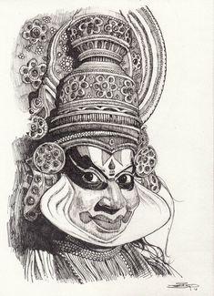 Pencil Sketches Of Faces, Pencil Sketch Images, Art Drawings Sketches, Abstract Sketches, Abstract Pencil Drawings, Abstract Line Art, Indian Art Paintings, Dance Paintings, Indian Art Gallery