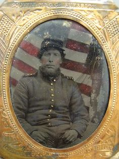 Plate Civil War Soldier with Union Flag Background / Color Tinted Tintype.