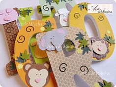 Letras decoradas (Artes de Miucha com papel) Tags: party baby animal kids zoo handmade name decoration safari theme nome decor scrap animais aniversrio letras ch