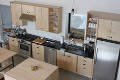 Birch Plywood Kitchen Cabinet Doors - Step by step directions for measuring your face frame cabinets for cupboard doors that Plywood Cabinets Kitchen, Birch Cabinets, Kitchen Cupboard Doors, Kitchen Handles, Upper Cabinets, Little Kitchen, New Kitchen, Black Kitchens, Home Kitchens