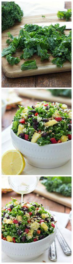 A simple detoxifying salad - couscous and kale mixed with a lemon vinaigrette I via chelseasmessyapron I #cleaneating #kale #mango