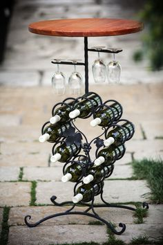 degustačný stolík darček pre vinára ručne kovaný motív 130 €