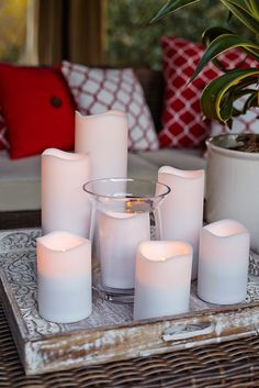 Trouble-free, flameless, weather-resistant LEDs from Pier 1 help you get into the moment quickly. Set the built-in timer to control when your relaxing evening begins and ends. Add a Pier 1 LED Candle Remote (available separately) to turn them on or off, adjust their glow and set the automatic timer—all without leaving your spot. Battery Candles, Pillar Candles, Best Umbrella, Condo Decorating, Decorating Ideas, Hearth And Home, Backyard Makeover, Farmhouse Chic, Dream Decor