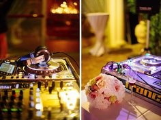 Dj set - Ready for bouquet s throwing ! Roses in peach soft pink and green ! http://www.fantasiaromantica.com  Wedding Destination Photographer: Florence   Europe   Martina   Fabrizio Wedding in a Tuscan villa   http://www.tastino0.it