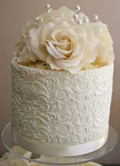 White chocolate wedding cake By AngieKessel on CakeCentral.com