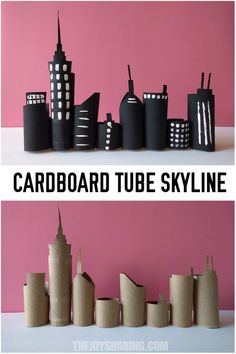Skyline Cardboard Tube Craft Recycle cardboard tubes in this majestic skyline . Skyline Cardboard Tube Craft Recycle cardboard tubes into this majestic skyline to use in the nursery or classroom Kids Crafts, Projects For Kids, Diy For Kids, Diy And Crafts, Craft Projects, Arts And Crafts, Craft Ideas, Stick Crafts, Summer Crafts