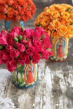 Painted Virgen de Guadalupe cans for flowers