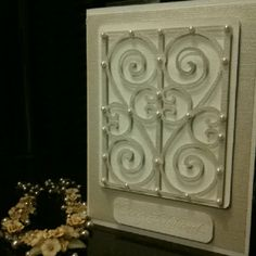 Wedding card for my friend, Cricut Ornamental Iron.