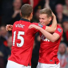 Theatre of Dreams: Wilson (right) celebrates his goal with Nemanja Vidic. Official Manchester United Website, Hull City, Premier League Champions, Live Matches, Match Highlights, Barclay Premier League, Sport Icon, English Premier League