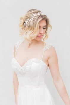 Bridal Halo Bridal Hair Vine Bridal Headpiece by SarahWalshBridal