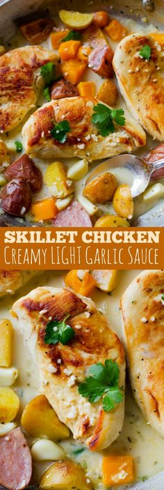 Skillet Chicken & Veggies with Creamy Light Garlic Sauce