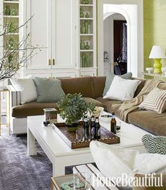 Lavender, chartreuse, and aqua make a happy color combination in a Scarsdale, New York, living room.
