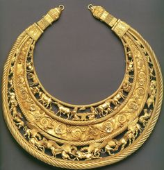 Scythian Gold. treasures came from the tombs of Scythian kings and nobles, dating to between 6th to 4th BC. The ends of the crescent that come close together are decorated with stylized lion heads holding rings in their mouths.