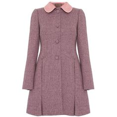 This lady like Fever Iris dress coat features a feminine nipped in waist, velvet trim peter pan collar, a quilted vintage print lining and sits at mid thigh. A…