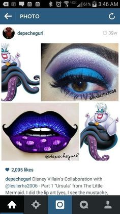Ursula - #Ursula Ursula Makeup, Disney Eye Makeup, Disney Inspired Makeup, Maquillage Ursula, Maquillage Halloween, Eyeshadow Makeup, Makeup Art, Beauty Makeup, Fun Makeup