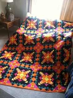 "Bonnie Hunter's Easy Street Mystery Quilt.  Renamed - ""Lantana Sunrise"" beautiful Colors!  So cheerful!"