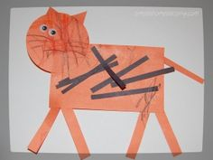Toddler Craft: Tiger.  Very basic toddler craft emphasizing shapes and color (orange).