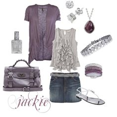 Summer Purple and Gray.....with a diamond splash, created by jackijons.polyvore.com