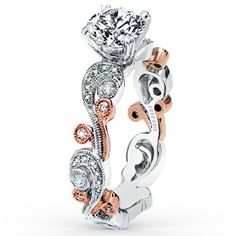 """Kirk Kara """"Angelique"""" 18K White and Rose Gold Diamond Engagement Ring Featuring Scrollwork and Milgrain Edging. Style SS6967P-RS · What Sparkles Most Is You"""