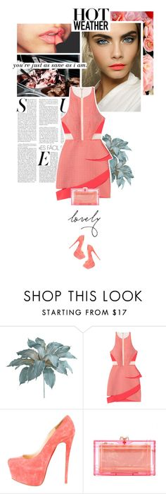 """body heat."" by eve-angermayer ❤ liked on Polyvore featuring Pier 1 Imports, Laura Mercier, Christian Louboutin, Charlotte Olympia, Spring, pretty, coral, eveangermayer and angermayerevelin"