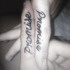 My husband and I got this tattoo together and we love it ! ~pinky promise~