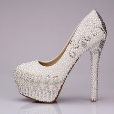 Pearl shoes wedding shoes platform shoes sexy ultra high heels single shoes rhinestone shoes crystal shoes-